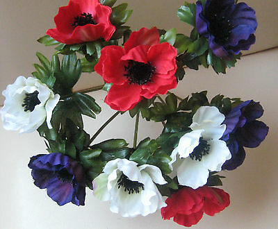 Artificial Anemone bunch Nine heads .IDEAL SMALL VASE. GRAVE ..Red purple white