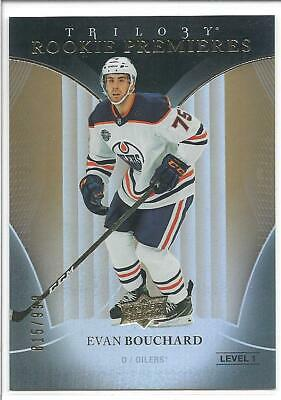 EVAN BOUCHARD 2018-19 UD Trilogy ROOKIE PREMIERES Rookie Card RC x/999 #62