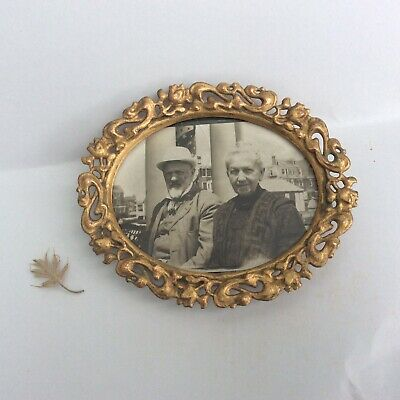 Antique Small BRASS OVAL PICTURE FRAME Ormolu Ornate filigree