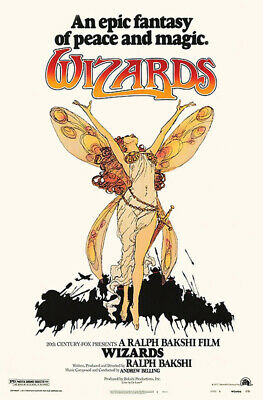 1977 WIZARDS VINTAGE ANIMATED FANTASY MOVIE POSTER PRINT 36x24 9MIL PAPER