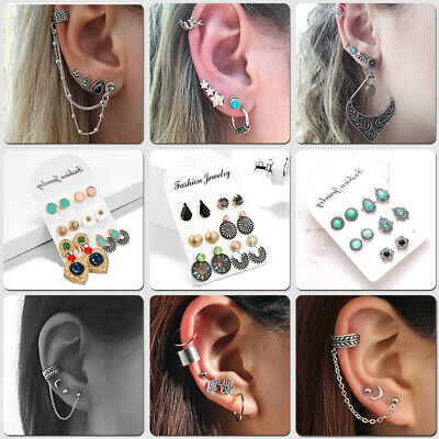 5 Pairs/Set Gemstones Ear Stud Cubic Zirconia Water Drop Earring Jewelry Gift