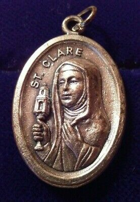 Vintage St Clare Pray for Us Medal Charm Pendant Made In Italy