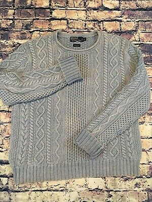 Polo Ralph Lauren Hand Knit Fisherman Rope Knit Cable Cotton Teal Mens Large Med