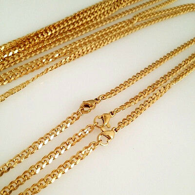 3.6/5mm Mens Boys 316L Stainless Steel 18K Gold Curb Cuban Chain Necklace Gift