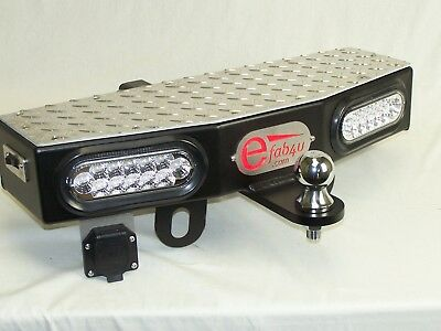 """24"""" Wide Trailer Tow Hitch Step 2"""" Receiver with 2 - 6"""" LEDs Free 2"""" Towing Ball"""