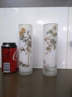 Chinese vintage pair of glass vases 1960