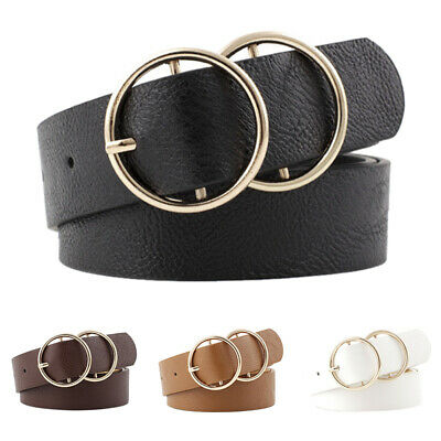Women Girls Faux Leather Belt Round Ring Metal Double Buckle Waistband New 2019