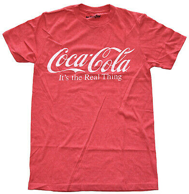 Coca Cola Logo It's the Real Thing Red Heather Men's Graphic T-Shirt New