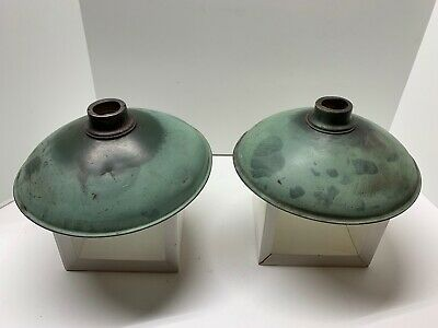 "2 Vintage Green & White Enamel Electrical Light Lamp Shades -10""x 2.5""x3"""