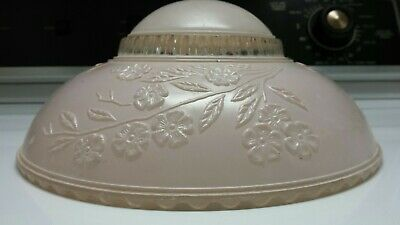 Vintage Antique Glass Light Fixture Art Deco Ceiling Chandelier Pink Floral 10 3