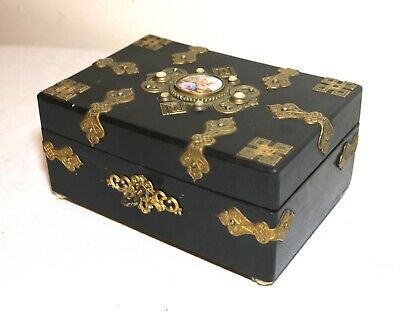 antique ornate 1800's French bronze wood painted porcelain jewelry box brass