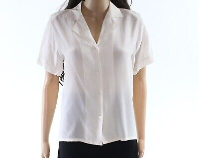 4f03e68c4cf988 Nordstrom NEW White Ivory Womens Size 4 Collared Button Down Blouse $99- 491