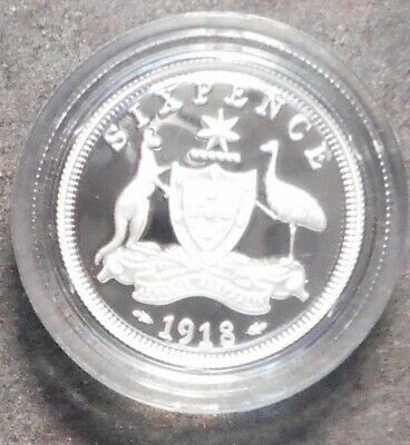 Australia 1999 1918 Sixpence  50 Cent   Silver Proof Coin Ex Masterpieces
