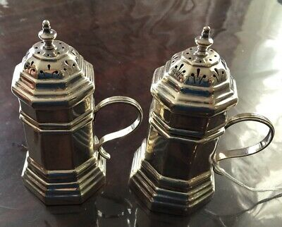 Pair London  Sterling Silver  Pepper Shakers, 1981,  184.3g