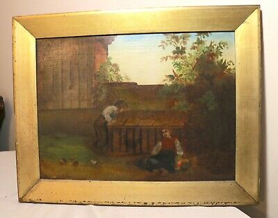 antique 1800's original Folk Art chicken coup farming children oil painting
