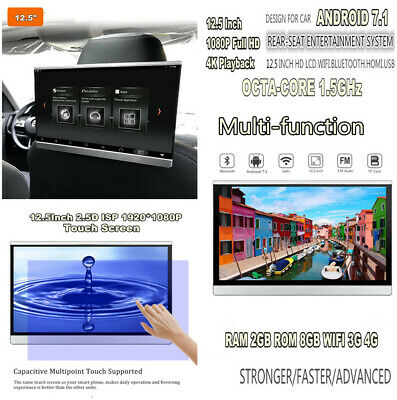 12.5'' HD 1080P Android 7.1 WIFI 3G/4G BT HDMI FM Car Rear Seat Headrest Monitor