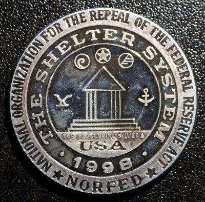 1998 NORFED Liberty Shelter System 1 oz .999 Fine Silver art round toned