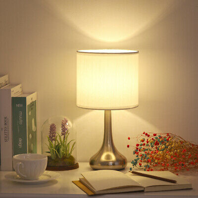 HAITRAL Bedside Table Lamp -Small Modern Nightstand Lamp with White Fabric Shade