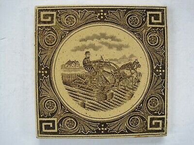 Antique Victorian Transfer Print Pictoral Wall Tile  - Man & Horses Harvesting