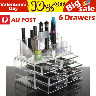 OZ Holder Cosmetic Makeup Organizer 6 Drawer Storage Jewellery Box Clear Acrylic