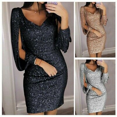 Womens Sexy SequinS Bling Long Sleeve Bodycon Cocktail Evening Party Mini Dress