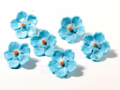 (6) antique micro lampwork realistic flower blue orange glass buttons beads