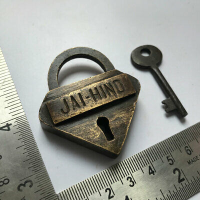 Brass padlock or lock with working key, old or antique unusual shape JAI HIND