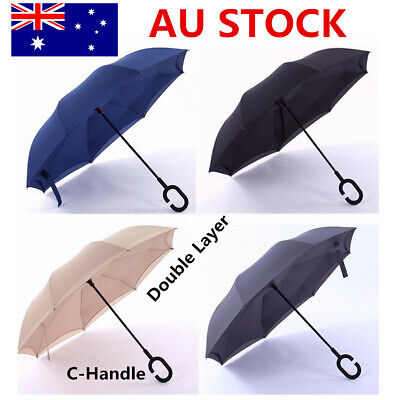 Men Women Reverse Inverted Upside Down Umbrella Double Layer Inside Out C-Handle