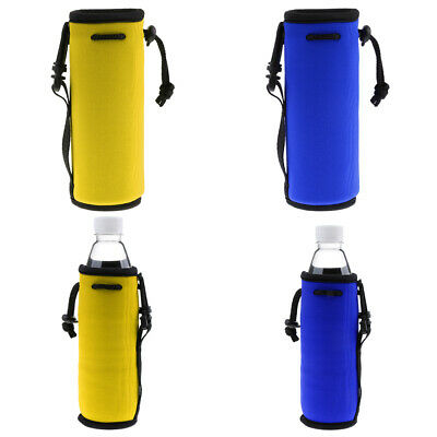 2 Pieces Outdoor Water Bottle Drawstring Insulator Cooler Sleeve Bag 500ml