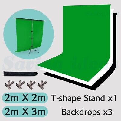 2x3m Photo Studio Black White Backdrop Stand Heavy-Duty Background Support KIT