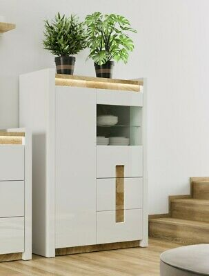Modern White and Oak Effect Display Cabinet Storage LED Soft Close 102cm Alameda