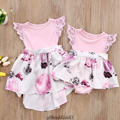 AU Infant Baby Kids Girls Floral Sisters Dress Romper Matching Outfits Clothes