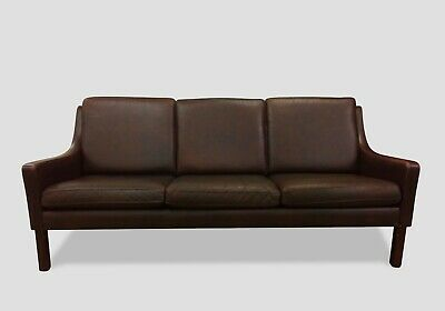 Danish Mid-Century Three Seater Leather Sofa