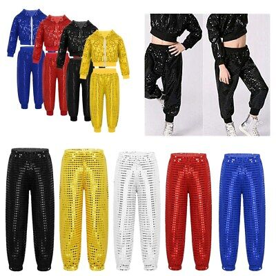 Boys Girl Street Dress Outfit Hip-hop Jazz Dance Costume Kid Shiny Dance Trouser