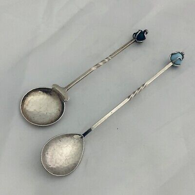 Pair of Sargisons Australian Sterling Silver Spoons - Blue & Green Beads