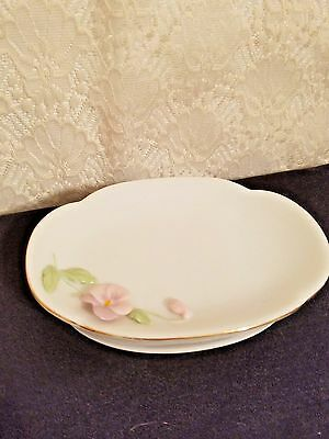 OTAGIRI White Porcelain Soap Dish Applied Pink Rose Green Leaves, Gold trim