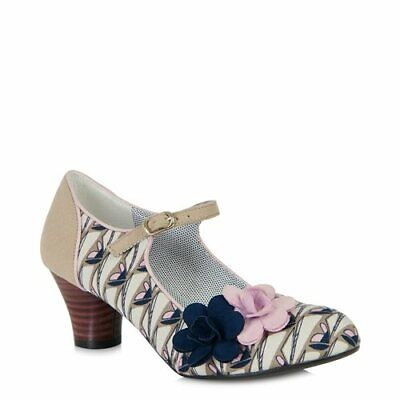 Ruby Shoo~Mia~Beige~Floral~Retro~Vintage Style~Low Heel~Court Shoes~Size 6~
