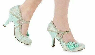 Ruby Shoo~Yasmin~Blue~Floral~Retro~Vintage Style~High Heel~Court Shoes~Size 5~