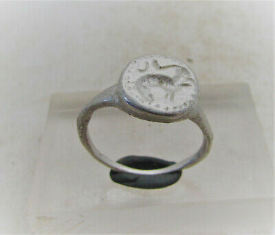 Ancient Roman Silver Legionary Seal Ring With Beast Motif On Bezel. Very Nice
