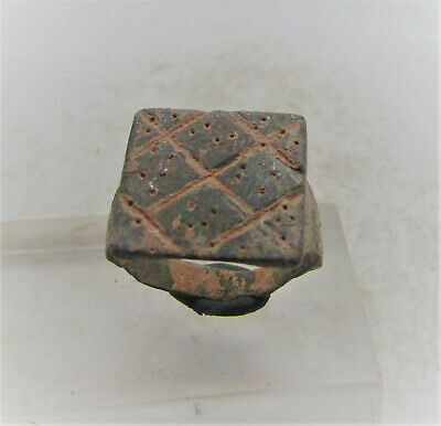 Superb Ancient Roman Bronze Ring With Engravings On Bezel