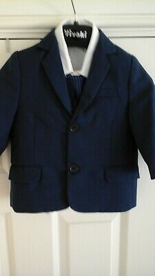 Boys age 12 - 18 mth navy suit with shirt and  tie