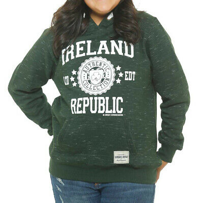 Kids Pullover Hoodie With Ireland Stamp Stars Print, Forest Green Colour