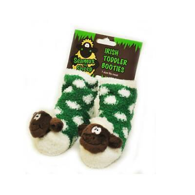 Green Fleece Baby Booties with White Polka Dots & Soft Seamus the Sheep Head