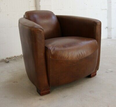 Marlborough Rocket Art Deco Lounge Vintage Low Back Club Tub Leather Brown Chair