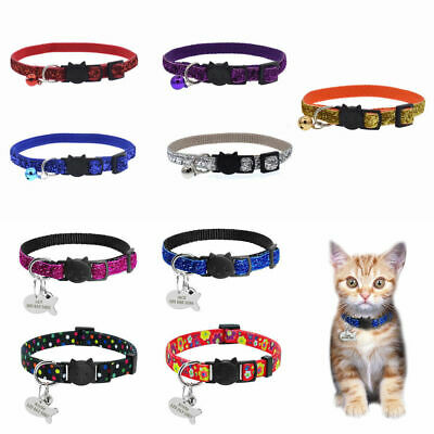 Pet Cat Safety Personalized Breakaway Cat Kitten JT Collar With Bell Neck Strap