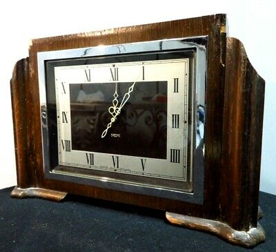 "SMITHS RENWAY 7.5"" WOODEN CLOCK 1950s Mantel Carriage Brown ART DECO Vintage"