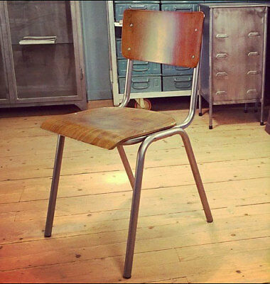 Vintage Retro School Chair Metal & Bentwood Ply Stacking Cafe Bar Industrial