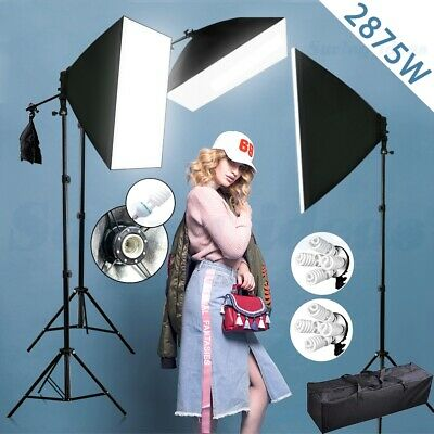 2875W Photography Studio Continuous Softbox Lighting Boom Arm Light Stand Kit UK