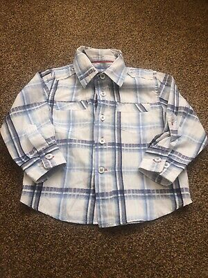 Mothercare blue white checked long sleeved shirt top baby boys 12-18 months