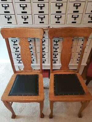 Pair Antique Vintage Tiger Solid Oak Wood Chair Leather Seat Free shipping
